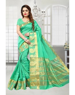 Party Wear Green Banarasi Silk Saree  - 81515C