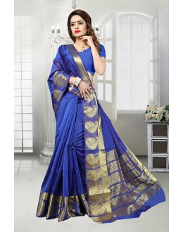 Banarasi Silk Blue Colour Saree  - 81515E