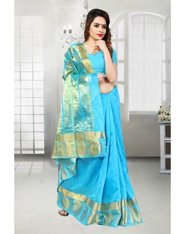 Sky Blue Banarasi Silk Saree  - 81515G