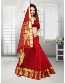 Ethnic Wear Red Banarasi Silk Saree  - 81515H