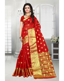 Party Wear Red Banarasi Silk Saree  - 81516D