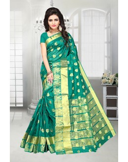 Party Wear Green Banarasi Silk Saree  - 81517B