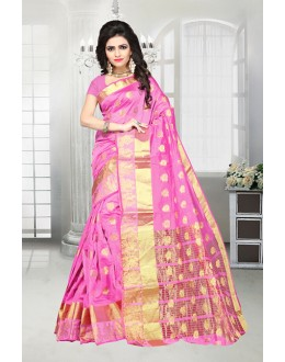 Traditional Pink Banarasi Silk Saree  - 81517F