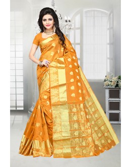 Ethnic Wear Orange Banarasi Silk Saree  - 81517G