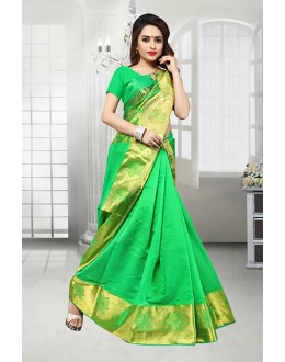 Ethnic Wear Green Banarasi Silk Saree  - 81518D