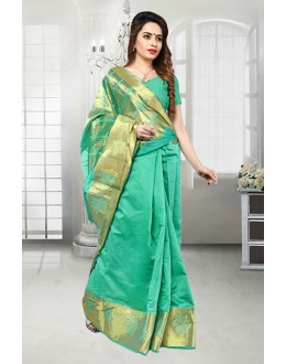 Party Wear Green Banarasi Silk Saree  - 81518E