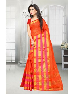 Ethnic Wear Orange Dora Kota Saree  - 81522D