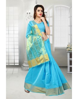 Ethnic Wear Sky Blue Banarasi Silk Saree  - 81523A