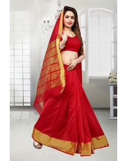 Ethnic Wear Red Banarasi Silk Saree  - 81523F