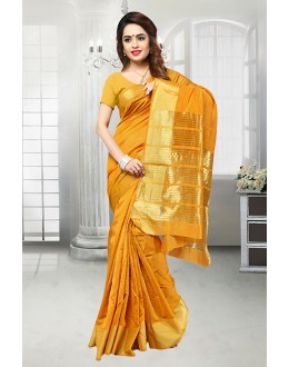 Ethnic Wear Mustard Banarasi Silk Saree  - 81523J