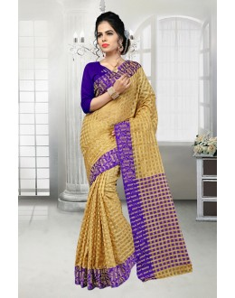 Party Wear Beige Banarasi Silk Saree  - 81525A