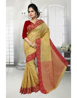 Traditional Beige Banarasi Silk Saree  - 81525B