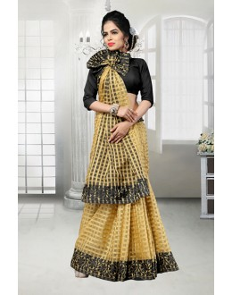 Party Wear Beige Banarasi Silk Saree  - 81525E