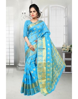 Sky Blue Colour Banarasi Silk Saree  - 81526B