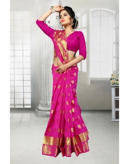 Traditional Pink Banarasi Silk Saree  - 81526D