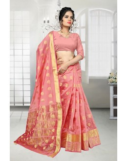 Ethnic Wear Light Pink Banarasi Silk Saree  - 81526F