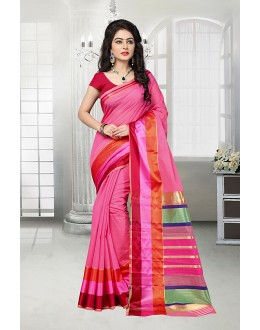 Party Wear Pink Cotton Silk Saree  - 81529E