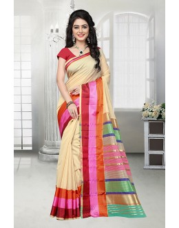 Traditional Beige Cotton Silk Saree  - 81529F