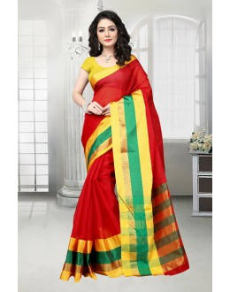 Ethnic Wear Red Dora Kota Saree  - 81531B