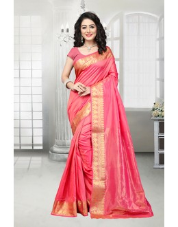 Ethnic Wear Pink Banarasi Silk Saree  - 81533A