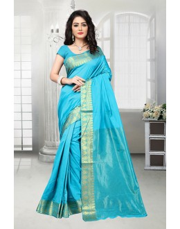 Banarasi Silk Sky Blue Attractive Saree  - 81533B