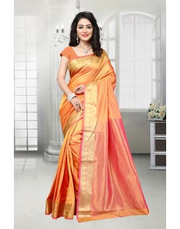 Party Wear Orange Banarasi Silk Saree  - 81533C