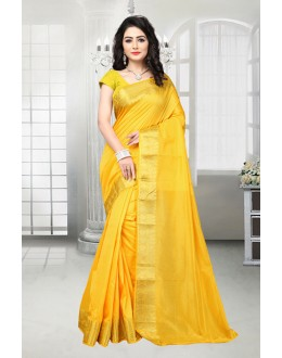 Casual Wear Yellow Banarasi Silk Saree  - 81533E