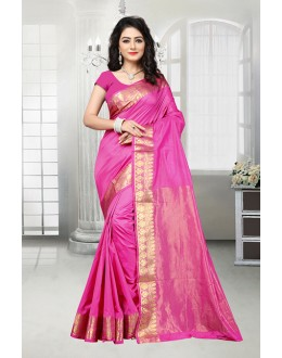 Party Wear Pink Banarasi Silk Saree  - 81533F