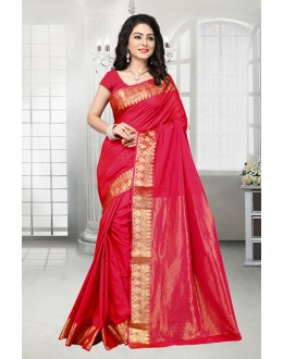 Casual Wear Red Banarasi Silk Saree  - 81533G