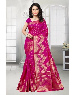 Party Wear Pink Banarasi Silk Saree  - 81535B