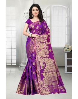 Festival Wear Purple Banarasi Silk Saree  - 81536A