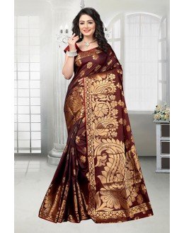 Banarasi Silk Brown Attractive Saree  - 81536D