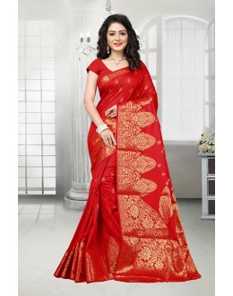 Ethnic Wear Red Banarasi Silk Saree  - 81537B