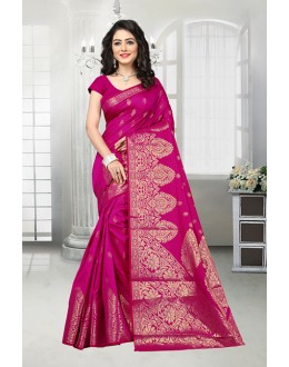 Party Wear Pink Banarasi Silk Saree  - 81537D