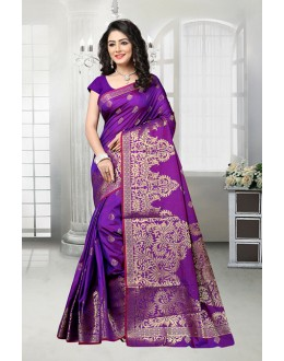 Purple Colour Banarasi Silk Attractive Saree  - 81538A
