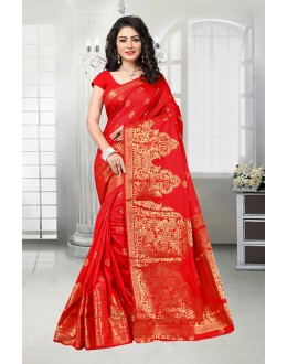 Ethnic Wear Red Banarasi Silk Saree  - 81538C