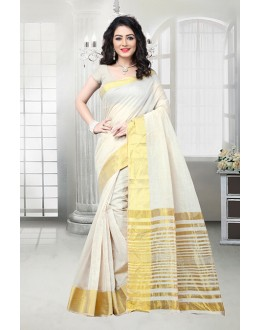 Traditional Off White Cotton Silk Saree  - 81539