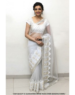 Party Wear Off White Georgette Saree  - 81594