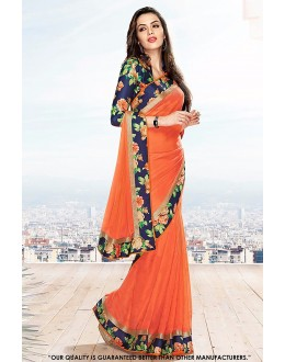 Ethnic Wear Orange Georgette Saree  - 81596
