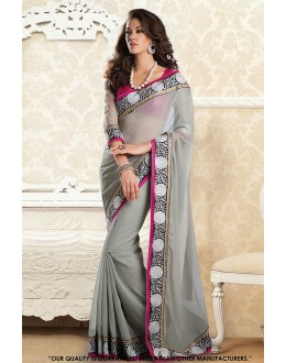 Traditional Wear Grey Georgette Saree  - 81597