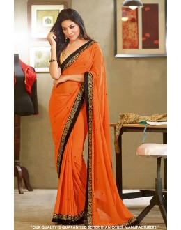 Festival Wear Orange Georgette Saree  - 81598