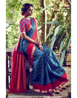 Party Wear Rama Zarna Silk Saree  - 81599