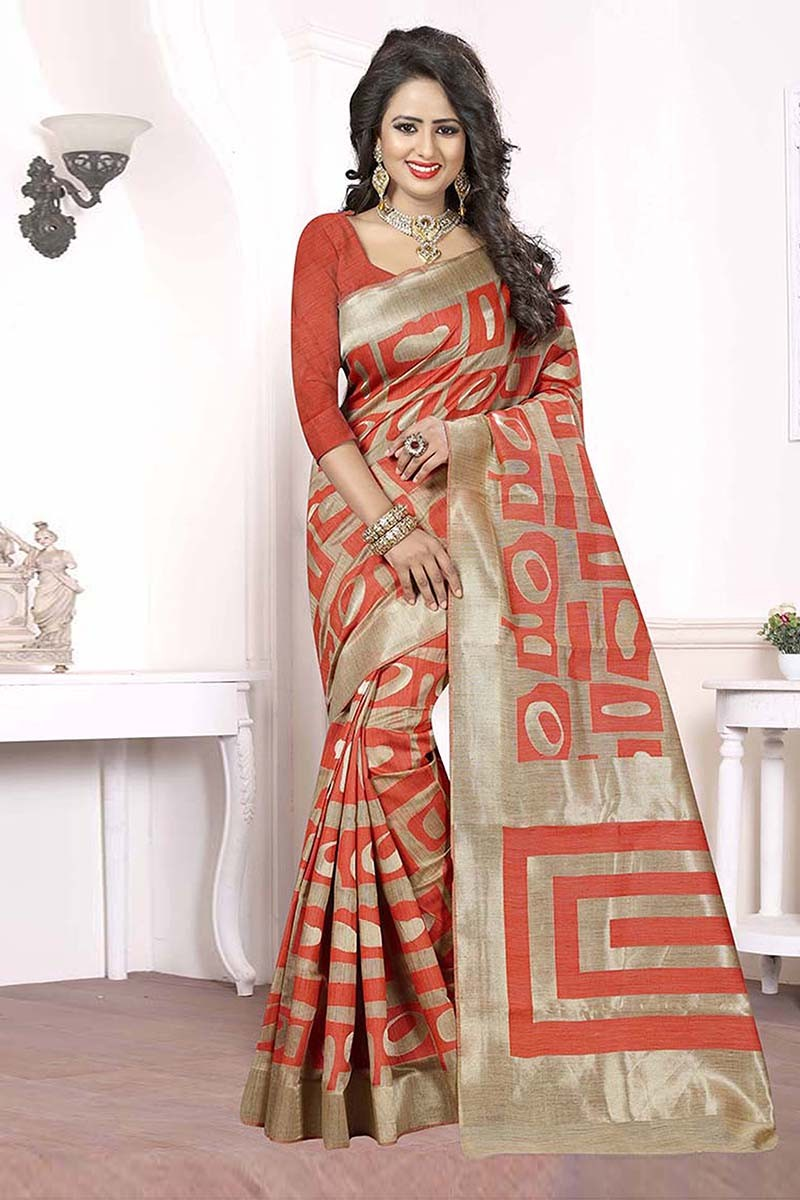 Festival Wear Beige & Peach Banarasi Silk Satin Saree  - 81658