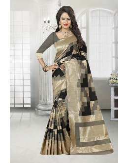 Wedding Wear Grey Banarasi Silk Satin Saree  - 81659