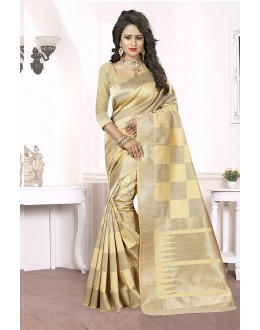 Party Wear Beige Banarasi Silk Saree  - 81660
