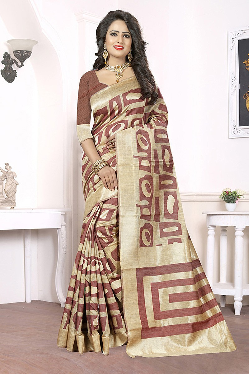 Wedding Wear Beige & Brown Banarasi Silk Saree  - 81662