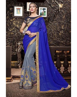 Traditional Wear Blue & Grey Georgette Saree  - 81668