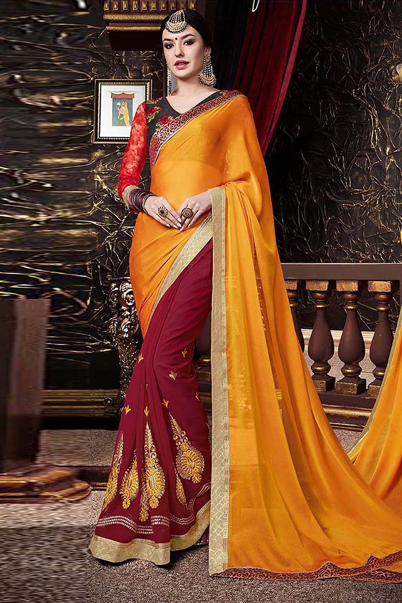 Party Wear Red & Orange Georgette Saree  - 81669