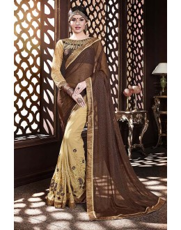 Traditional Wear Brown & Cream Georgette Saree  - 81670