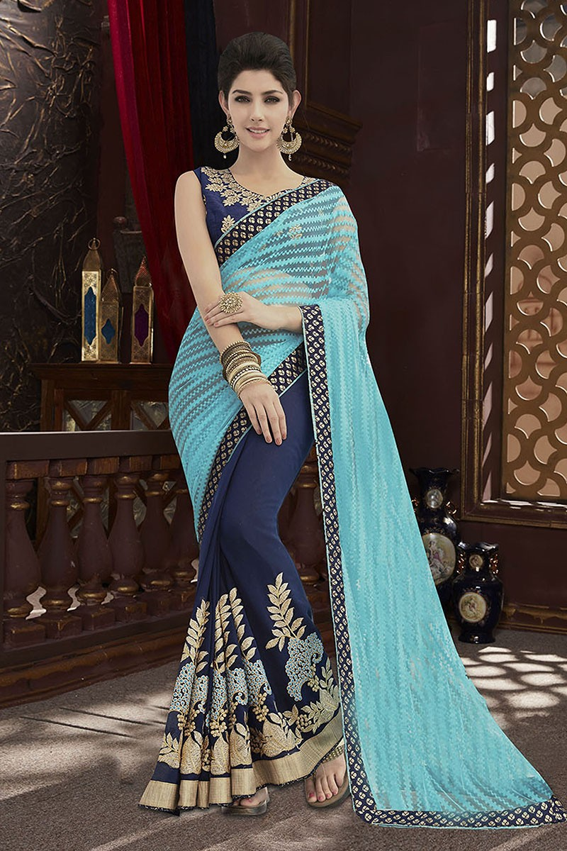 Festival Wear Blue Net  Georgette Saree  - 81675